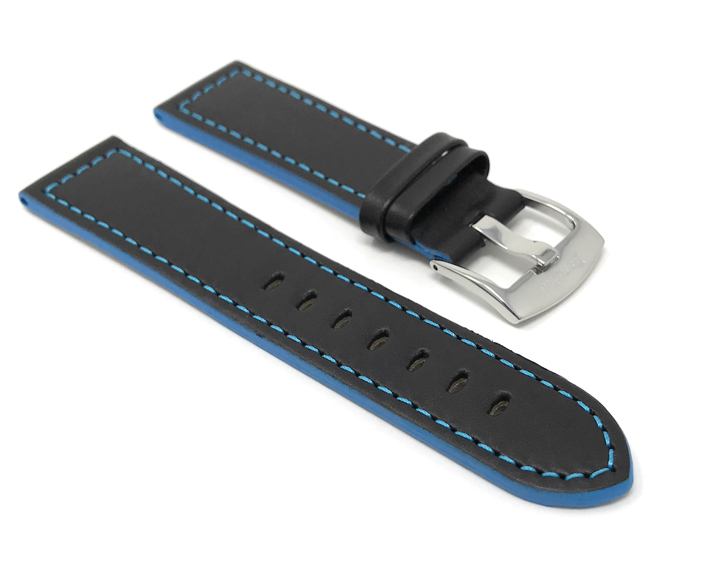 Bandini-Leather-Watch-Band-Racer-Strap-5-Colors-18-20-22-24mm-Extra-Long-Too thumbnail 11