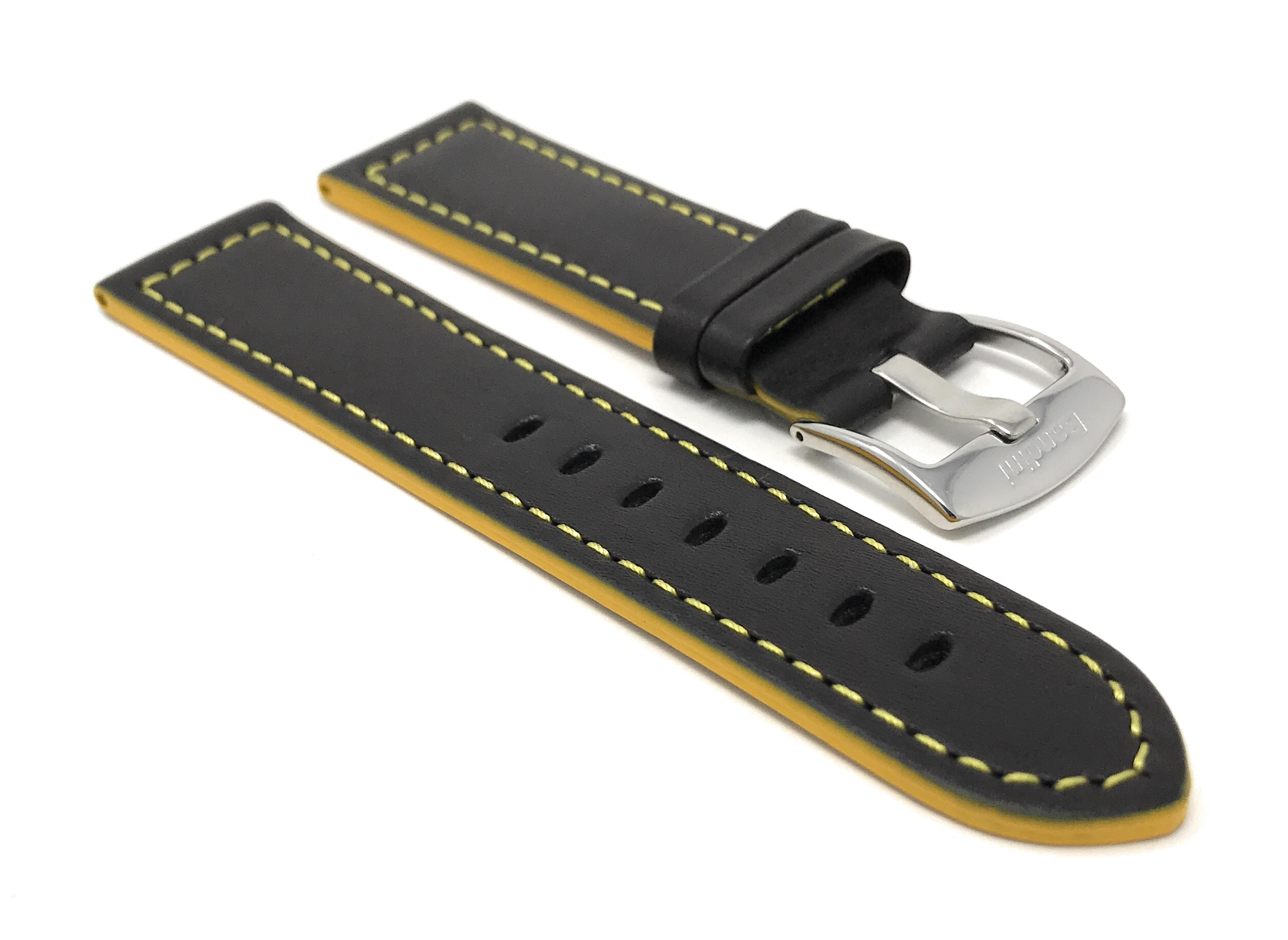 Bandini-Leather-Watch-Band-Racer-Strap-5-Colors-18-20-22-24mm-Extra-Long-Too thumbnail 15