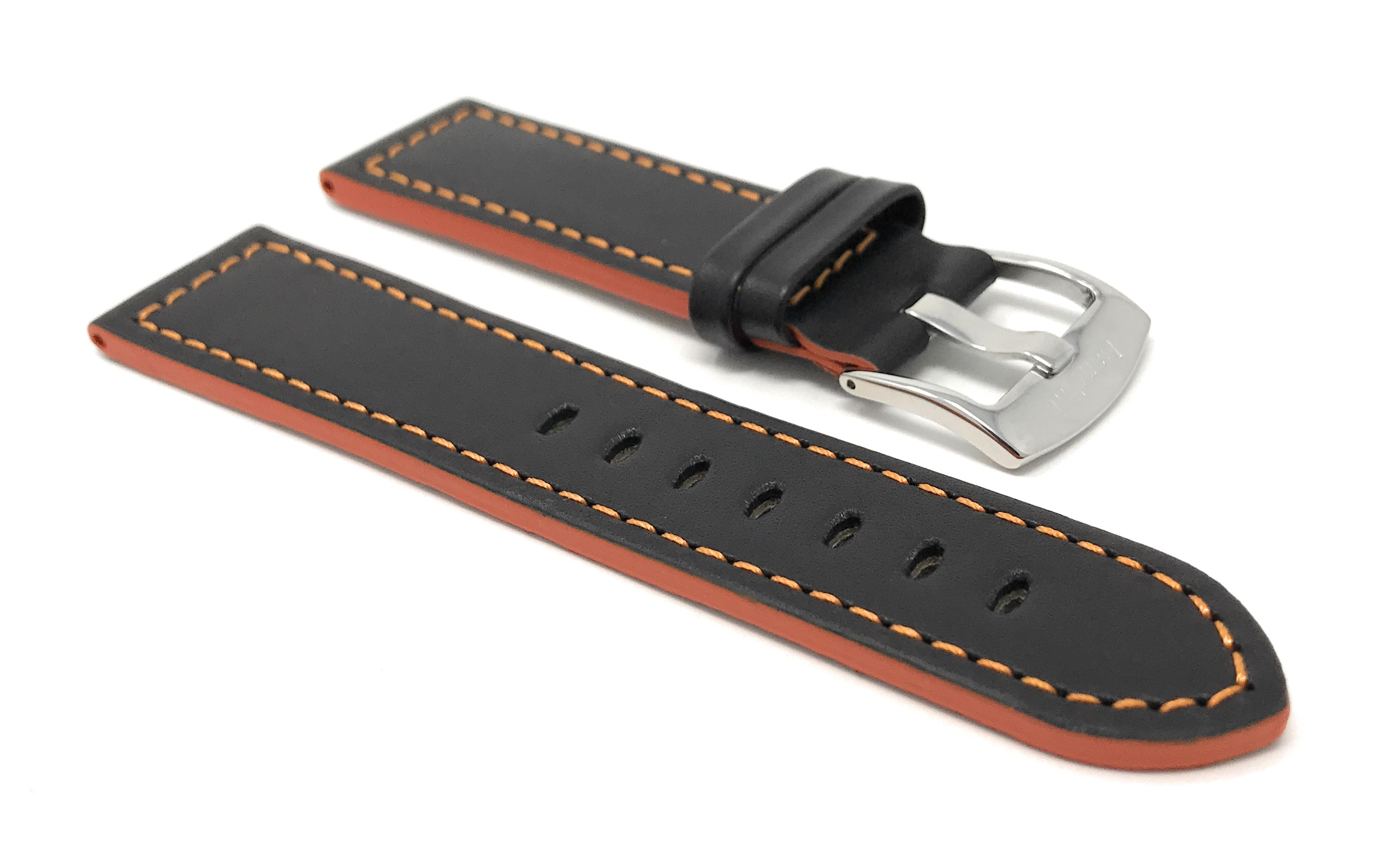 Bandini-Leather-Watch-Band-Racer-Strap-5-Colors-18-20-22-24mm-Extra-Long-Too thumbnail 19