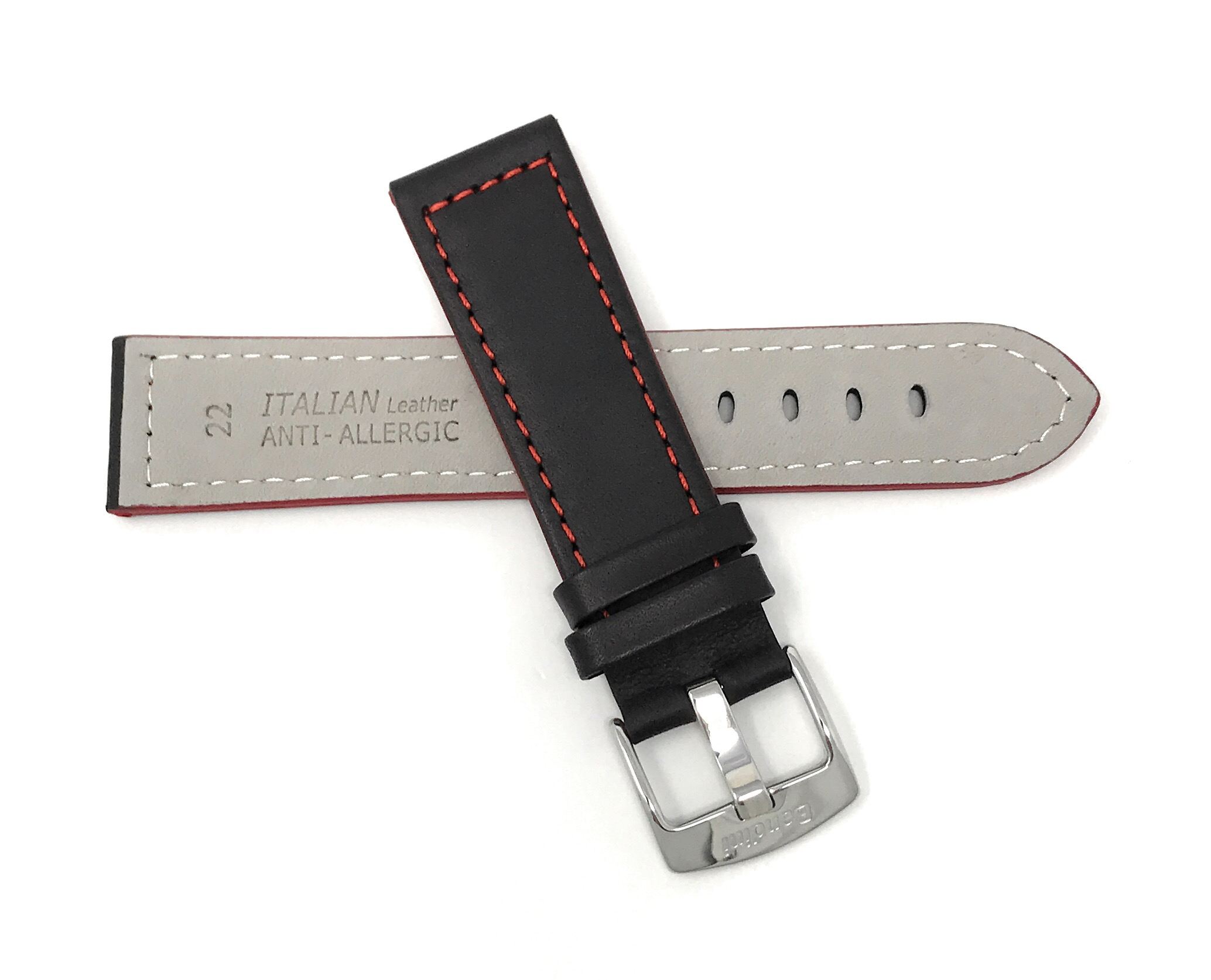 Bandini-Leather-Watch-Band-Racer-Strap-5-Colors-18-20-22-24mm-Extra-Long-Too thumbnail 24