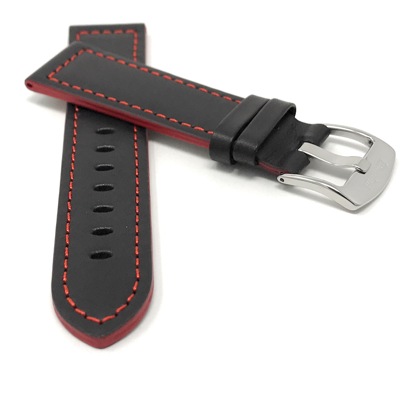 Bandini-Leather-Watch-Band-Racer-Strap-5-Colors-18-20-22-24mm-Extra-Long-Too thumbnail 22