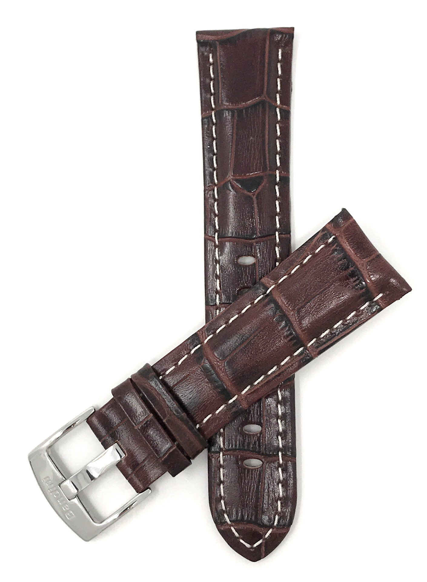 Extra Long 24mm Brown Alligator Style Leather Watch Band, Wh
