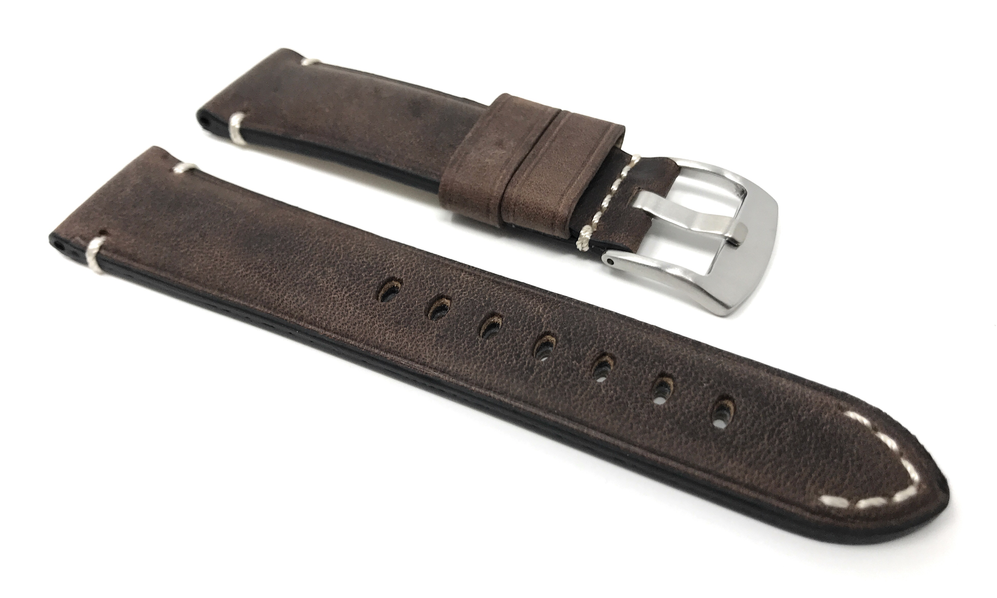 Bandini-Distressed-Leather-Watch-Band-Strap-Black-Brown-Tan-20mm-22mm-24mm thumbnail 11