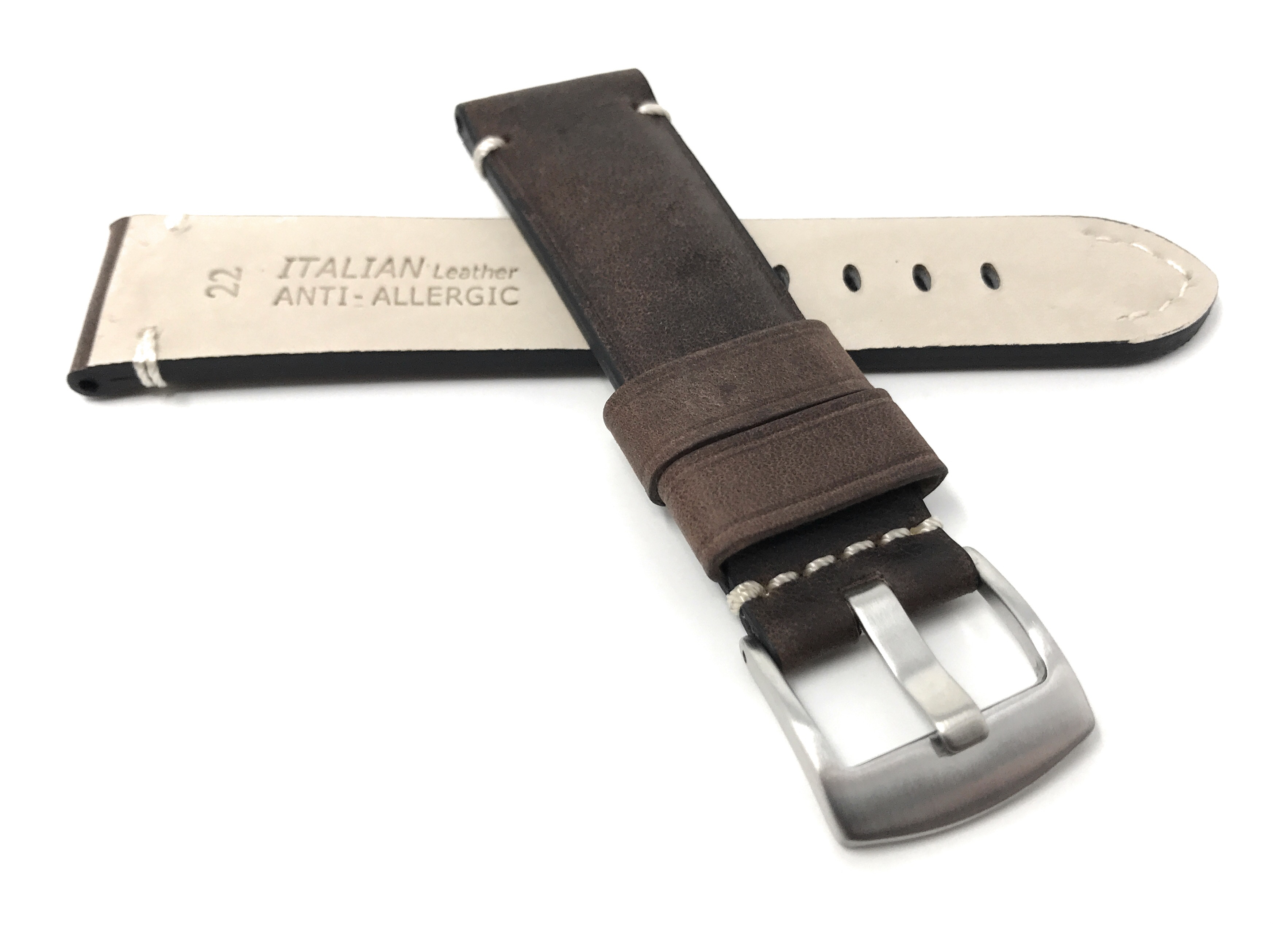 Bandini-Distressed-Leather-Watch-Band-Strap-Black-Brown-Tan-20mm-22mm-24mm thumbnail 12