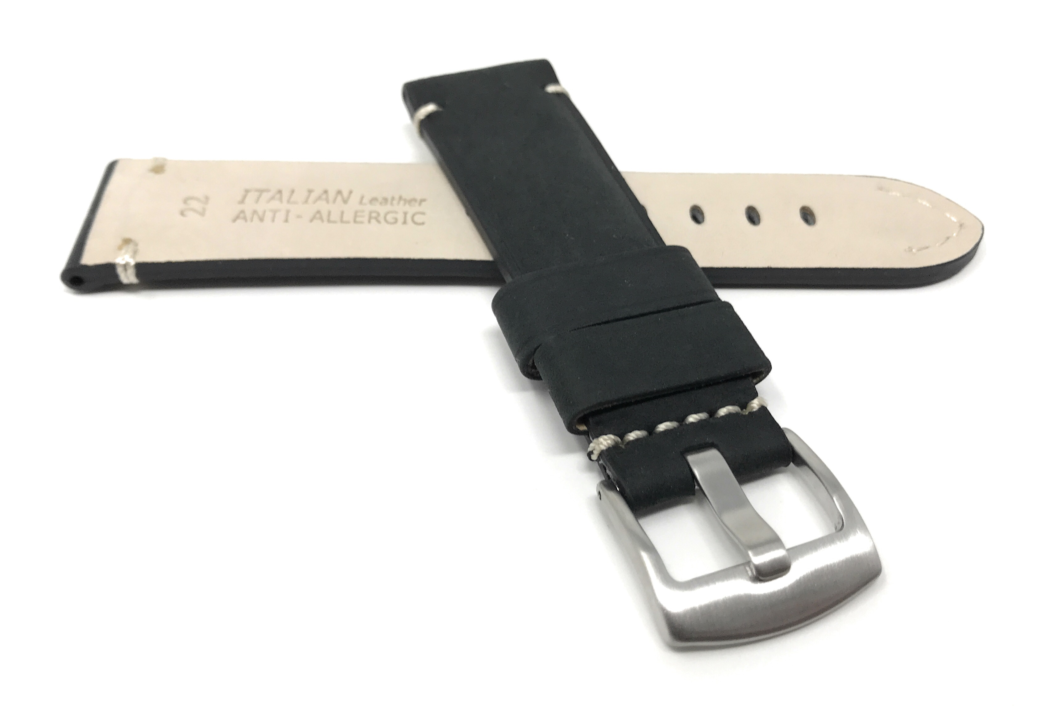 Bandini-Distressed-Leather-Watch-Band-Strap-Black-Brown-Tan-20mm-22mm-24mm thumbnail 16