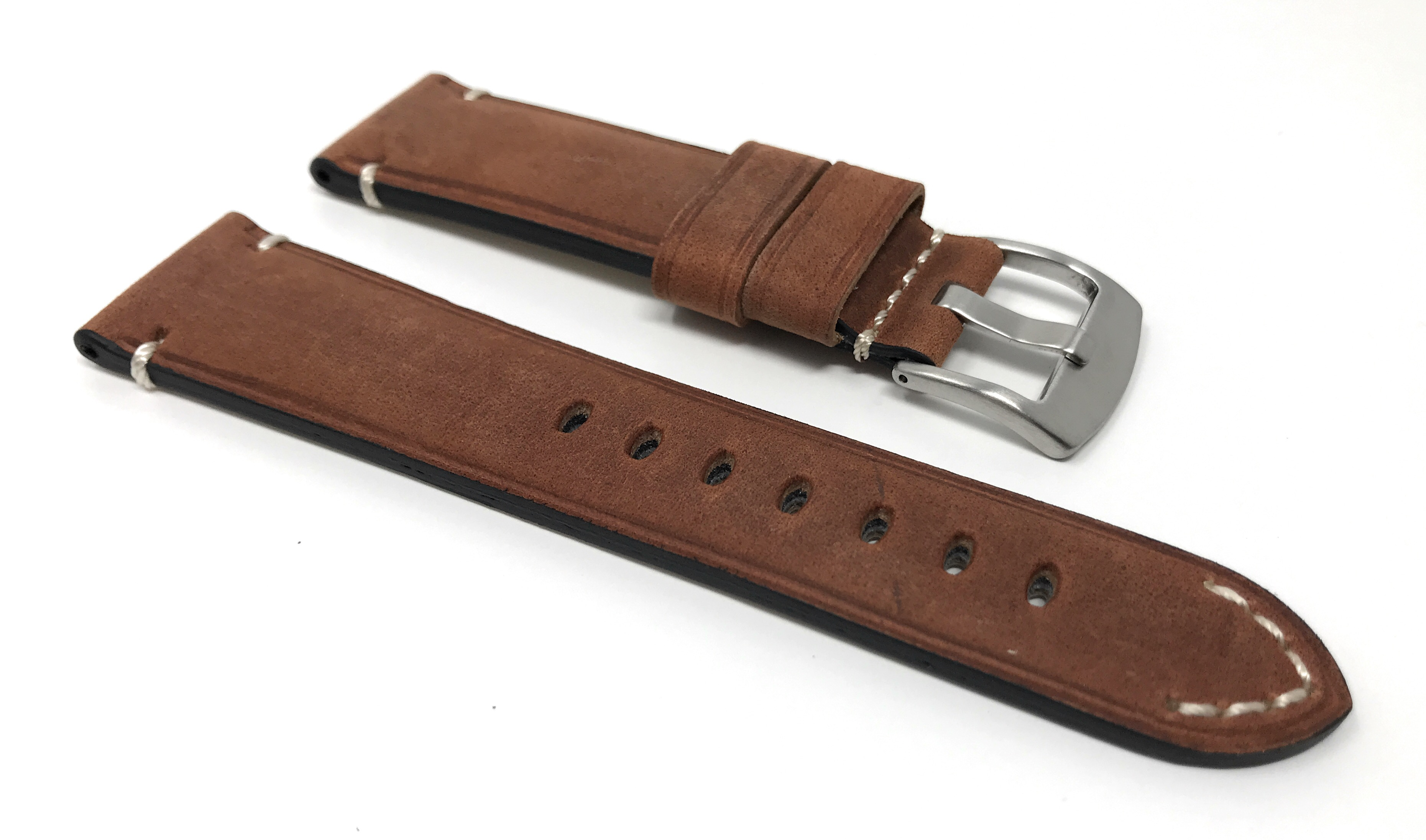 Bandini-Distressed-Leather-Watch-Band-Strap-Black-Brown-Tan-20mm-22mm-24mm thumbnail 31