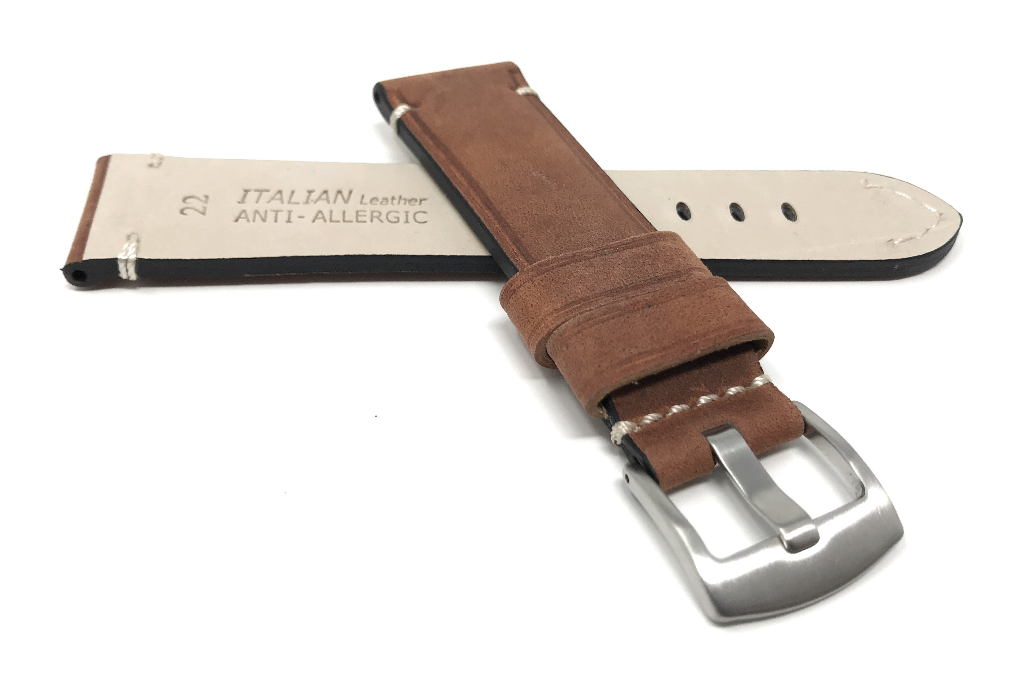 Bandini-Distressed-Leather-Watch-Band-Strap-Black-Brown-Tan-20mm-22mm-24mm thumbnail 32