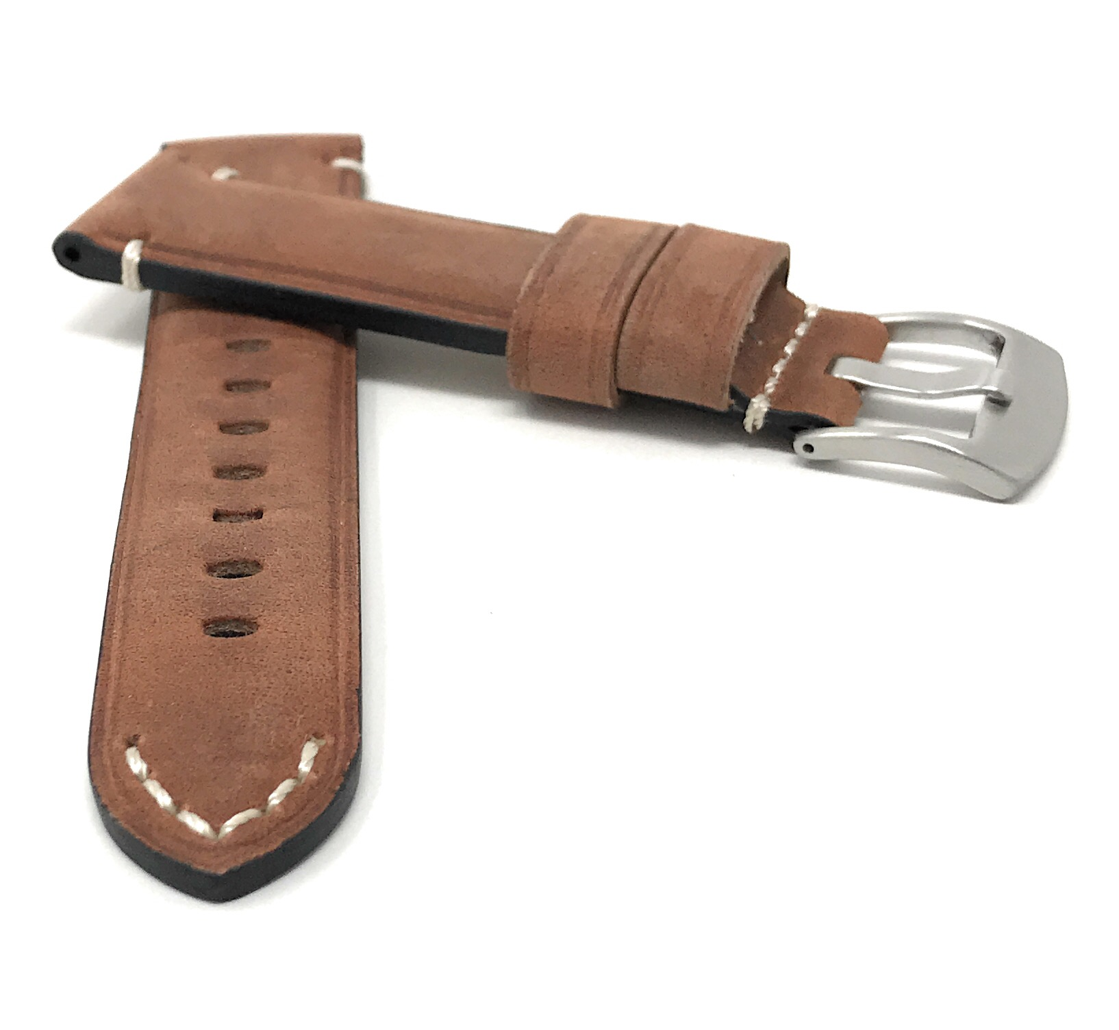 Bandini-Distressed-Leather-Watch-Band-Strap-Black-Brown-Tan-20mm-22mm-24mm thumbnail 30