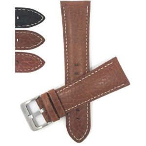 Bandini 452 | Leather Watch Band for Men, White Stitch, Padded