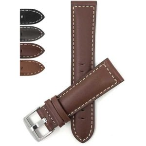 Bandini 500s | Mens Leather Watch Band, White Stitch, Padded, Standard & Extra Long (XL)