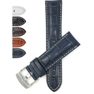 Bandini 508s | Mens Leather Strap, Alligator Pattern, White Stitch, Extra Long XL Available