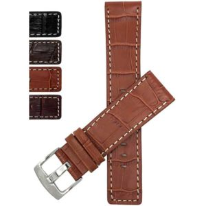 Bandini 510s | Square Tip Leather Watch Strap for Men, Croco Style, White Stitch