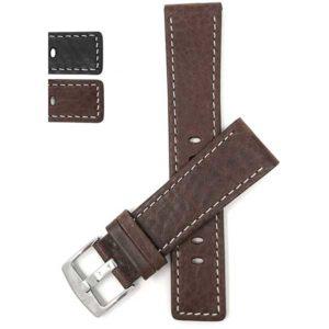 Bandini 511s | Square Tip Leather Watch Strap for Men, White Stitch