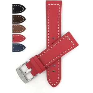 Bandini 516s | Thick Mens Leather Watch Strap, Racer, White Stitch