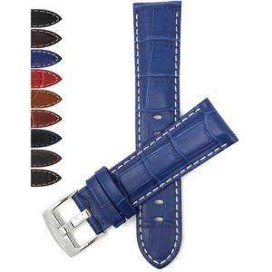Bandini 518s | Mens Leather Strap, Alligator Pattern, White Stitch, Many Colors