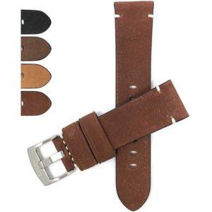 Bandini 525 | Mens Distressed Leather Watch Band, Minimal Stitch