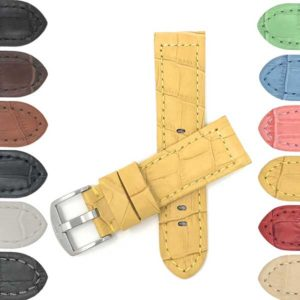 Bandini 602 | Wide Mens Leather Watch Band, Alligator Pattern, 12 Colors