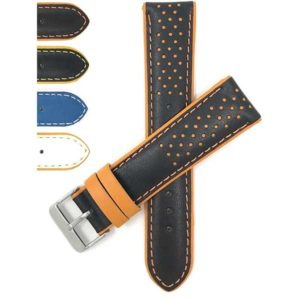 Bandini 605 | Mens Leather Two-Tone Rally Watch Band, Vented, Racer