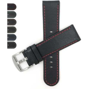 Bandini 606 | Flat Mens Leather Sport Watch Band,Racer, Slim, Round Tip