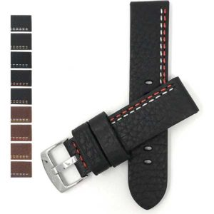 Bandini 830 | 22mm Thick Vintage Style Leather Band for Men, Double Stitch