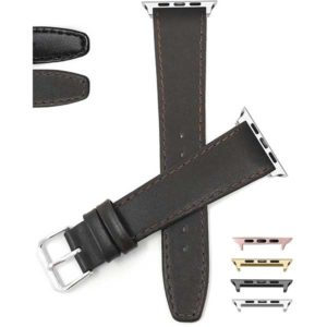 Bandini Thin Leather Watch Band with Stitch for Apple Watch Series 6/5/4/3/2/1