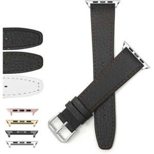 Bandini Slim Leather Buffalo Pattern Watch Strap for Apple Watch 38mm/40mm, Series 6/5/4/3/2/1
