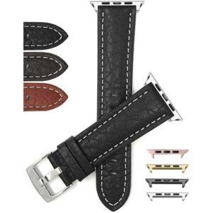 Bandini Buffalo Pattern Leather Band, White Stitch for Apple Watch Series 6/5/4/3/2/1, Standard & Extra Long (XL)