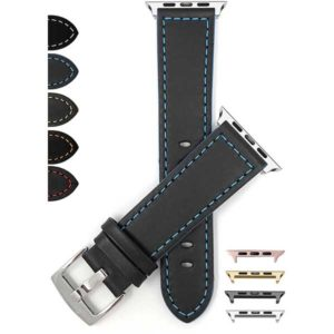 Bandini Thick Padded Leather Racing Band with Side Color for Apple Watch Series 6/5/4/3/2/1