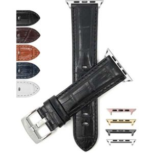 Bandini Mens Leather Watch Band, Alligator Pattern for Apple Watch Series 6/5/4/3/2/1, Extra Long (XL) Available