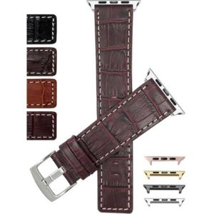 Bandini Square Tip Croco Style Leather Watch Strap, White Stitch for Apple Watch Series 6/5/4/3/2/1