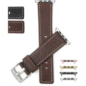 Bandini Square Tip Leather Watch Strap, White Stitch for Apple Watch Series 6/5/4/3/2/1