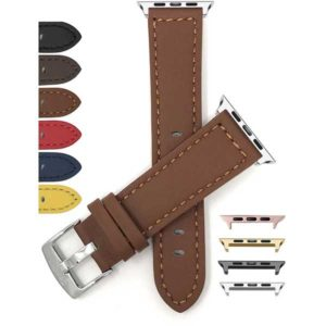 Bandini Thick Racer Style Leather Watch Strap for Apple Watch Series 6/5/4/3/2/1