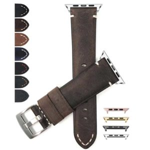 Bandini Vintage Distressed Leather Watch Strap for Apple Watch Series 6/5/4/3/2/1(Also Extra Long XL)