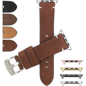 Bandini Vintage Distressed Leather Band, Minimal Stitch, for Apple Watch Series 6/5/4/3/2/1(Also Extra Long XL)