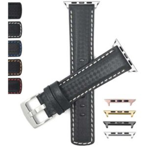 Bandini Leather Carbon Fiber Style Watch Band for Apple Watch Series 6/5/4/3/2/1