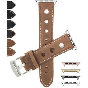 Bandini Leather Vintage Style Rally Strap, 3 Holes Racing Band for Apple Watch Series 6/5/4/3/2/1