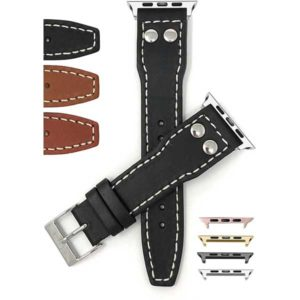Bandini Mens Leather Watch Strap with Rivets for Apple Watch Series 6/5/4/3/2/1
