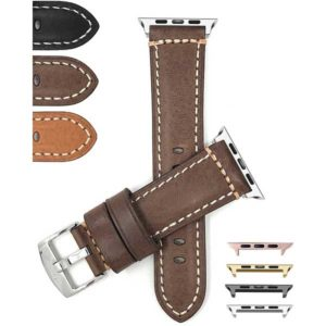 Bandini Mens Double Stitch Padded Leather Watch Strap for Apple Watch Series 6/5/4/3/2/1