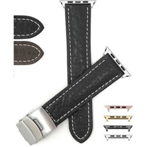 Bandini Mens Leather Deployment Watch Strap with White Stitch for Apple Watch Series 6/5/4/3/2/1