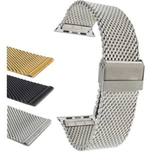 Bandini Adjustable Mesh Watch Band, Thick Milanese Strap for Apple Watch Series 6/5/4/3/2/1