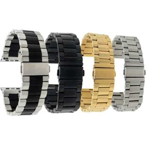 Bandini Stainless Steel Metal Watch Band, Silver, Gold, Black Tone for Apple Watch 38mm/40mm, Series 6/5/4/3/2/1