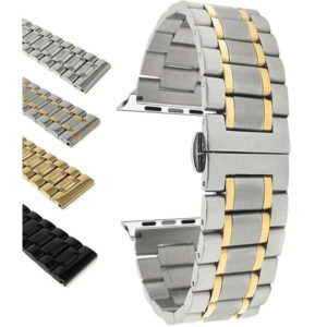 Silver Tone Bandini Stainless Steel Watch Band, Metal Watch Bracelet for Apple Watch Series 6/5/4/3/2/1 with Silver Tone Adapter