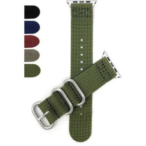 Bandini 2 Piece Nylon Nato Style Watch Strap for Apple Watch 38mm/40mm, Series 6/5/4/3/2/1