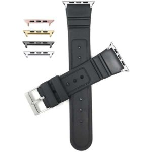 Bandini Black Rippled and Etched Rubber Sports Watch Strap for Apple Watch 38mm/40mm, Series 6/5/4/3/2/1