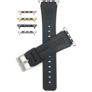 Bandini Mens Black Rubber Watch Band for Apple Watch 38mm/40mm, Series 6/5/4/3/2/1