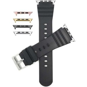 Bandini Black Mens Rubber Sports Watch Band for Apple Watch 38mm/40mm, Series 6/5/4/3/2/1