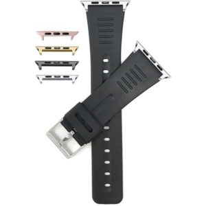 Bandini Black Rubber Databank Style Watch Band for Apple Watch 38mm/40mm, Series 6/5/4/3/2/1
