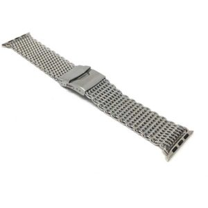 Bandini Stainless Steel Shark Mesh Deployment Band for Apple Watch 38mm/40mm, Series 6/5/4/3/2/1