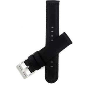 Bandini CAN100 | 20mm Black Canvas Nylon Watch Strap, Quick Release Band