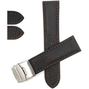 Bandini DE900s | Mens Leather Watch Band with Deployment Buckle, White Stitch
